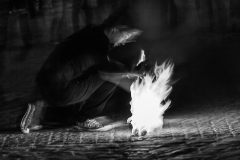 Play with fire ! Parvis Notre Dame, Paris, France