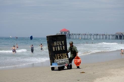 Bible on the beach Huntington Beach, California, USA