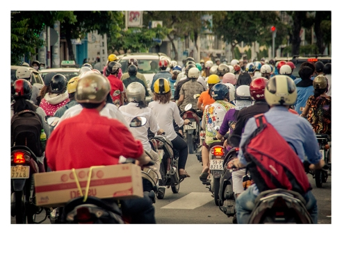 Traffic chaos in the streets of Ho Chi Minh City, Vietnam