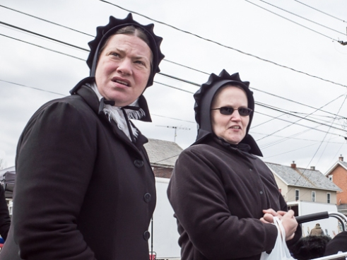 Two Amish Women in Winter Bonnets