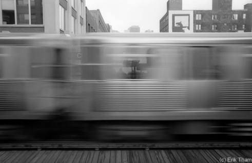 Chicago, IL: Passing El-Train at Belmont Station.