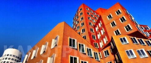 Windows with red, Zollhof 1 designed by Frank Gehry Düsseldorf, Germany