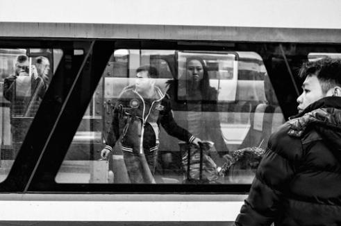 Mirror effect / selfie, Central Station Gothenburg, Sweden