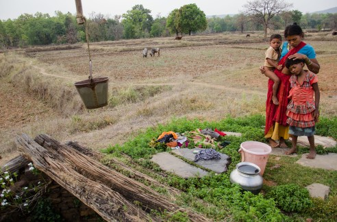 A Baiga woman draws water from the community well in the outskirts of the forest. Baiga Tribe Village outside Kanha National Forest in Madhya Pradesh, India.
