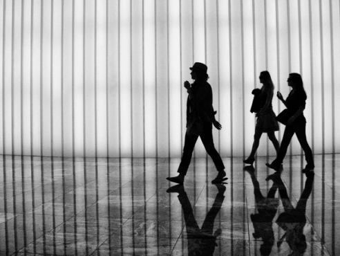 Silhouettes at Winter Garden Battery Park City, New York City, USA