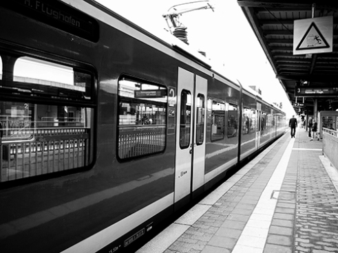 Walking the line Paderborn Hauptbahnhof, Germany