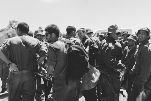 Israeli Soldiers Golan Heights June10, 2015 - Israeli solders socilaize at Golan Heights.