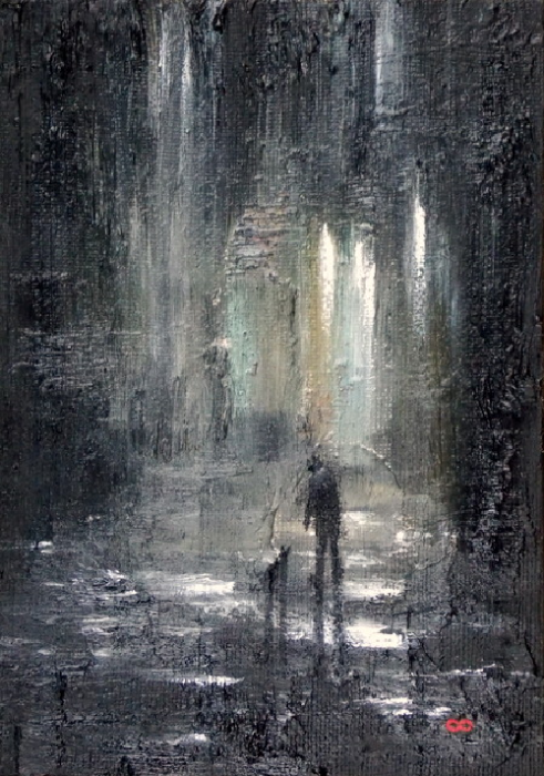 Shadows and Puddles Oil painting
