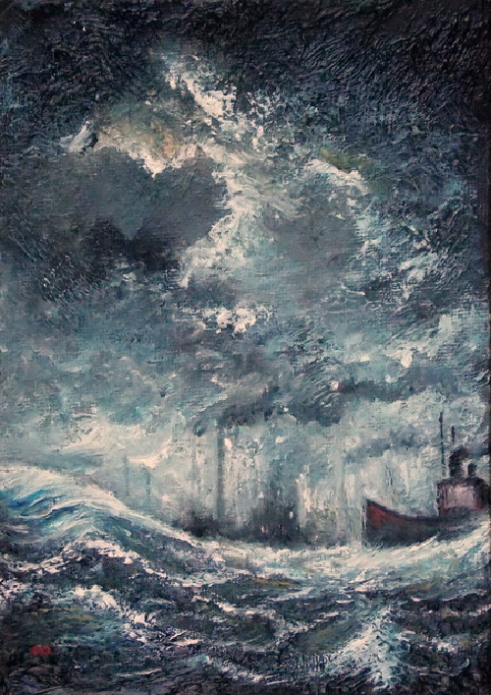 Industrial Seascape Oil painting