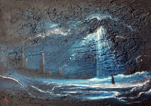 Ice City Oil painting