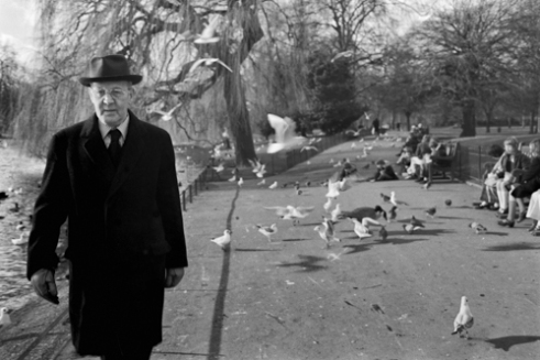 Man in St James's Park on a sunny afternoon of January 1976. England