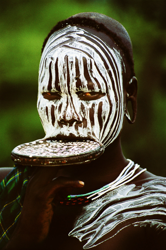 Mursi girl with lip plate, Ethiopia