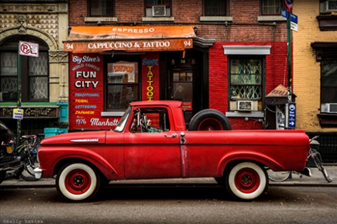 Red Vintage Truck at Fun City Tattoo, St Marks Place, East Village, NYC