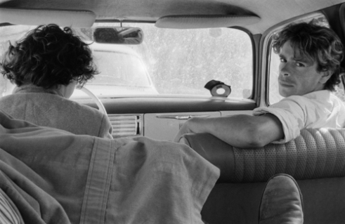 Two boys in Peugeot 403. Etretat - France (1978)