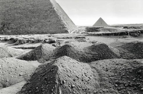 Ground works for an electric train road at the base of the pyramids, when finished tourists will be shuttled up to the pyramids and then back to their coaches, horses and camels will be banned from the site. (Pyramids of Giza, Egypt)