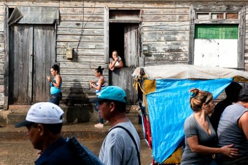 Baracoa downtown street on a weekday .
