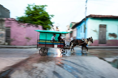 Horse carriage in a central street of Santa Clara .
