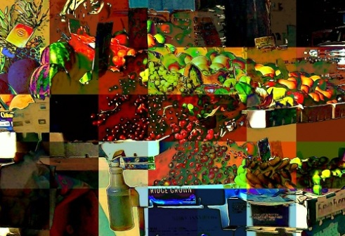 Study in abstraction. Fruits of a street vendor.