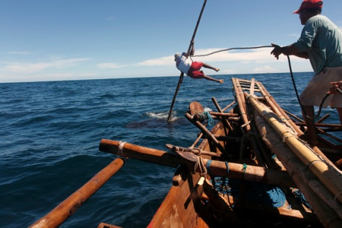 The harpooner called Gregorious dives from the front of the boat to harpoon a large basking shark which he hits in the head.