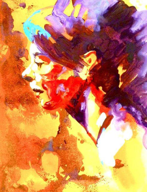 "Claudia - watercolour/gouache - 15"" x 22"""