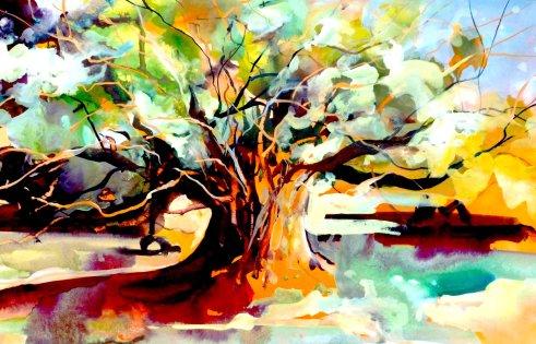 """Tree Richmond Park London - watercolour/gouache - 15"""" x 22"""""""
