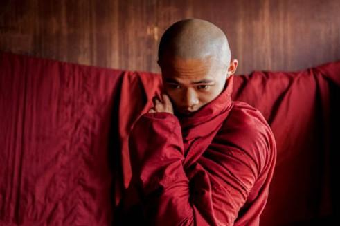 Monk Dressing Yangon Monastery, Myanmar