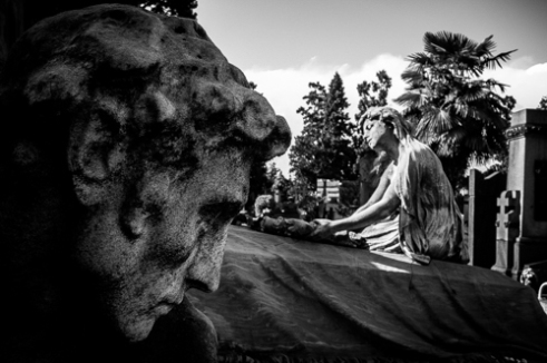 MONUMENTALE. A detail of Monumental Cemetery. It is noted for the abundance of artistic tombs and monuments.