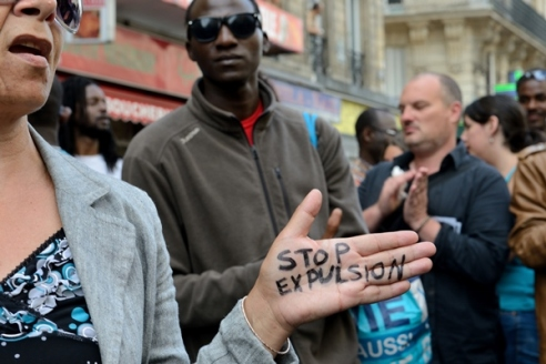 Protest of migrants in Paris