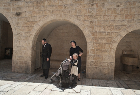 Orthodox family in Jerusalem during Shabbat.