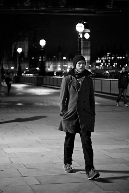 Alone in the evening on the South Bank, London