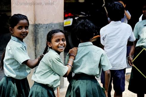 MPP(DPEP) School Peta Medikera Village, Kurnool, Andhra Pradesh, India: Students enjoy a water and toilet break at the school. Photo credit:Sandeep Biswas/UNICEF