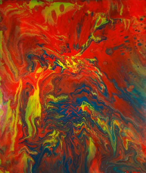 Fire and Water- Fluid acrylics on gallery wrapped canvas