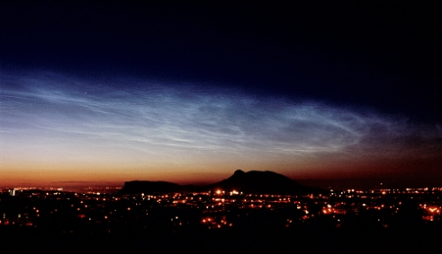 NLC over Arthur's Seat #1 Noctilucent clouds from central Scotland