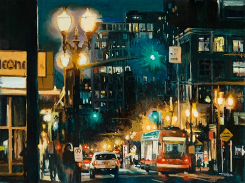 """Stark & SW 10th Ave, Portland"" Oil on panel"