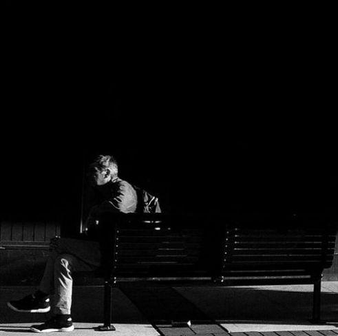 Lone man on bench Randwick, Sydney, Australia