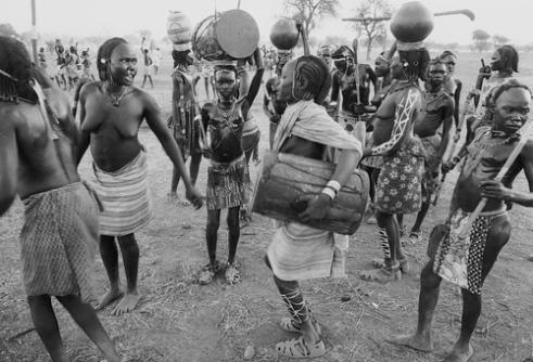 Nuba Girls. Wrestling festival El Taice Nuba Mountains Sudan