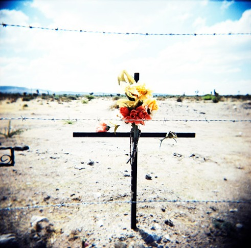 A roadside memorial to an unknown victim of either an accidental or violent death. State of Zacatecas, Mexico