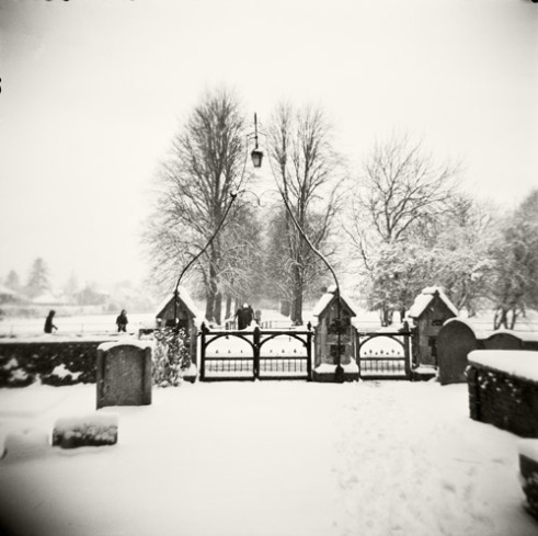 St Augustine's church in Broxbourne, Hertforshire, England after a heavy snowfall.