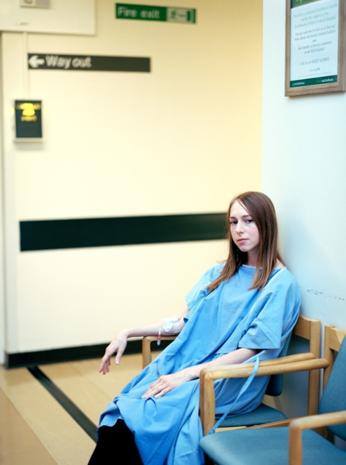Waiting for one of the many chest x-ray's in hospital due pain or related chest infections, Eastbourne DGH, England