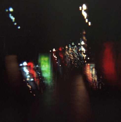 The Gion District of Kyoto at night. Multiple exposure using a Holga camera