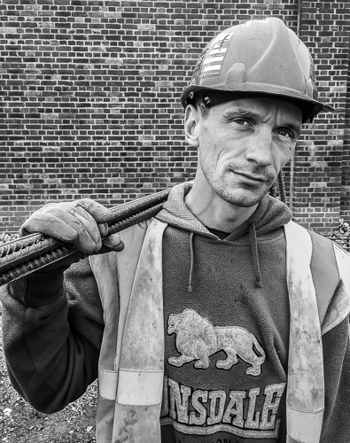 The eyes are the mirror to the soul – Nicky is one of the gang, a steelfixer, and an ex-solder, a young man working ungodly hours under all sorts of weather conditions