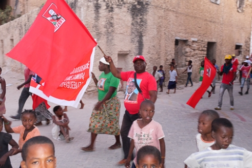 Enthusiastic Frelimo supporters campaigning for their party.