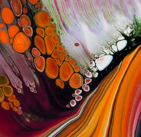 Rock Fall Manipulation of fluid acrylics and ink to create various textures and pigment effects.