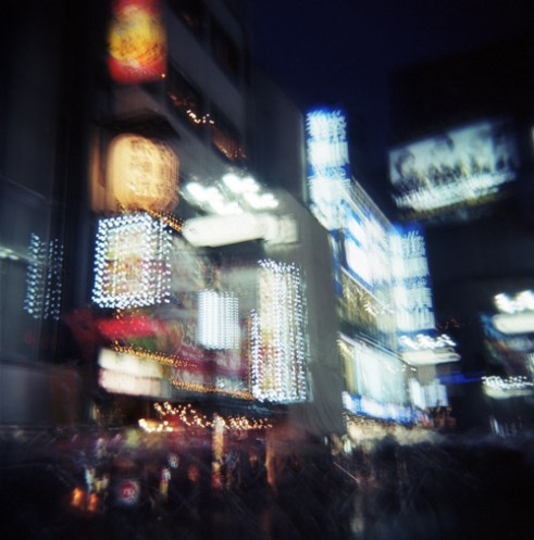 The Shibuya district at night. Tokyo, Japan. Multiple exposure using a Holga camera.
