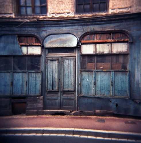 An abandoned shop front in St Omer, France.