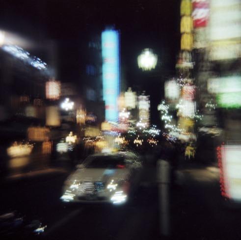 Downtown Tokyo at night. Multiple exposure using a Holga camera.