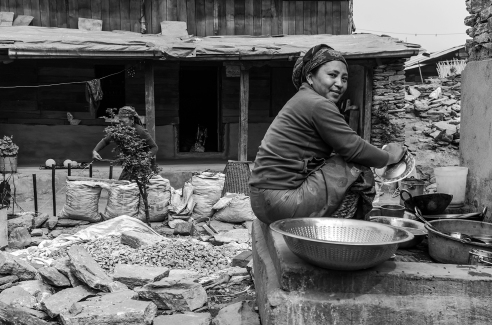 16. Family life in a courtyard at Barpak.