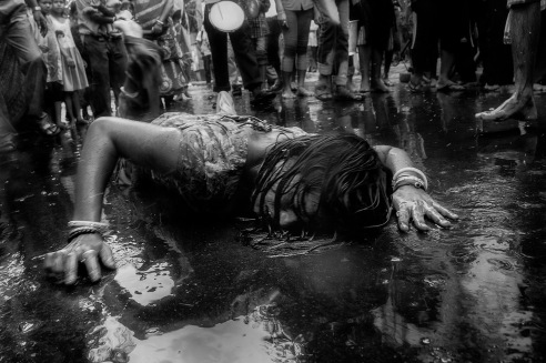 In an annual religious event called Dandi, where Goddess Sitala is worshiped. It is believed that if Goddess is pleased she will possess a participant woman. Over the years it has now become a practice to drug a woman and her unnatural behaviors thereafter is portrayed as the possession. And such incident occur on the very heart of the big urban city of Kolkata.