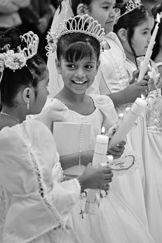 First Communion at Hispanic Catholic Church in Charlotte, North Carolina.