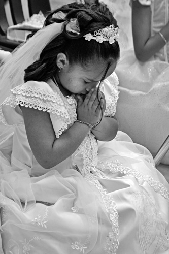 First Communion at Hispanic Catholic Church in Charlotte, North Carolina.